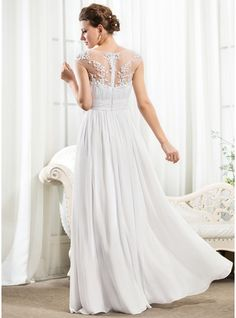 1491946ae7b A-Line Princess Scoop Neck Floor-Length Chiffon Wedding Dress With Ruffle  Beading