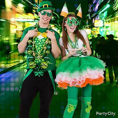 Go a wee bit wacky with your St. Patrick's Day look! Create your own style with printed t-shirts, hats, shades, suspenders and giant beads!