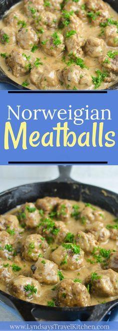 Meatballs Learn how to make Norwegian Meatballs!Learn how to make Norwegian Meatballs! Norwegian Cuisine, Norwegian Food, Norwegian Recipes, Swedish Recipes, Meatball Recipes, Meat Recipes, Cooking Recipes, Recipies, Kebabs