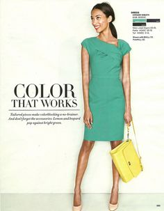 Green origami sheath dress w/ yellow and blush... J.Crew August 2012