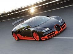 Officially the fastest production car in the world, the Bugatti Veyron 16.4 Super Sport has an all-carbon monocoque and a massive 1,200hp 16-cylinder engine, propelling the car up to 268mph!