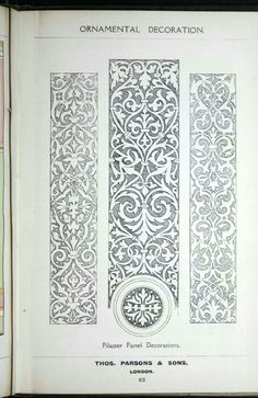 A few suggestions for ornamental decoration : a collection of designs & colour schemes for painters' and decorators' work / compiled by F. Stencil Patterns, Embroidery Patterns, Arabesque, Border Pattern, Pattern Design, Art Nouveau, Motif Oriental, Ornament Drawing, Carving Designs