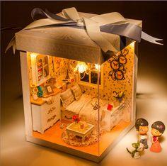 Cama DIY casa de boneca casa de madeira 3D puzzles coleção de bonecas DIY casa de boneca de presente meninas de boneca