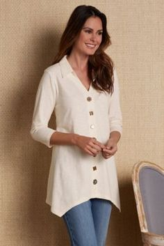 Danielle Button Top - Embellished Top, Elbow-length Sleeve Top | Soft Surroundings