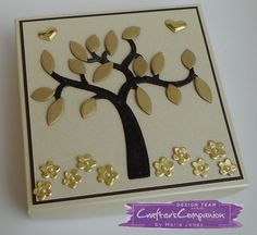 Gift Box made with Crafter's Companion Die'sire Mixed Media – Blossoming Tree die. Designed by Marie Jones #crafterscompanion