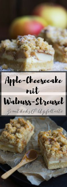Saftiger und leckerer Cheesecake mit Äpfeln und Walnuß Streuseln, dazu leckere und einfache Karamellsauce - das easy-peasy Rezept gibt es auf meinem Blog - Schaut doch mal vorbei!