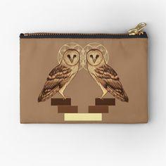'Sacred Owls' Zipper Pouch by MonoMano Unique Bags, Zipper Pouch, Pouches, Owls, Cat Lovers, Zip Around Wallet, Geek Stuff, Art Prints, Printed