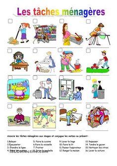-Associe les tâches ménagères aux images.-Conjugue les verbes au présent de l'indicatif. - Fiches FLE