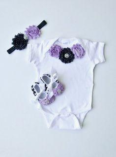 Baby Girl Gift Set Rosette Flowers Lavender Black by mamabijou, $37.99