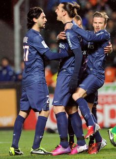 phenomenon-of-ibrahimovic:  Ohh these sweet hugs)) Zlatan and David, and Pastore during the French L1 football match Saint-Etienne (ASSE) vs Paris Saint-Germain (PSG) on March 17, 2013.