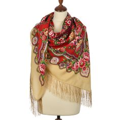 Russian shawl Southern sun 1652-3. Traditional Russian wool shawl, Pavlovo Posad shawl. Free Shipping. Best price guarantee.