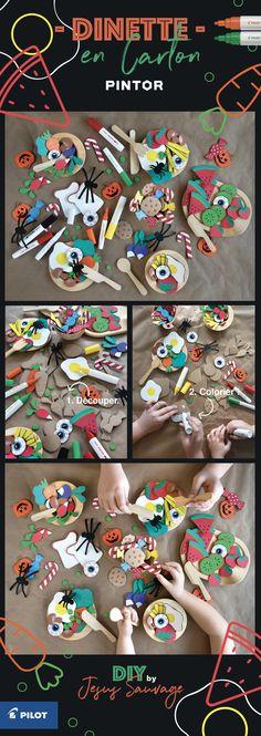 Réalisez une Dinette en Carton #Upcycling avec les feutres peinture PINTOR de @pilotpenfrancers Tutoriel par #jesussauvage #pintorDIY #pilotpintor #DIY #CardboardDIY #cardboard #DIYforkids #kidsDIY #carton Carton Diy, Pilot Pens, Diy Simple, Diy Cardboard, Baby Makes, Upcycle, France, Activities, Play