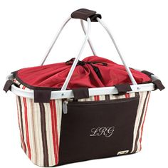 "Collapsible Picnic Basket Lightweight and fully-collapsible Durable 600D polyester canvas on a sturdy aluminum frame Water-resistant interior liner Expandable drawstring top Size: 19"" x 11"" x 10"" Our Collapsible Fashion Chic Embroidered Picnic Basket was made to bring out the gorgeous fashionista in you! There is nothing better than a charming picnic on a beautiful day. This collapsible fashion picnic basket is perfect for embracing the outdoors anywhere, anytime. This design is irresistibly…"
