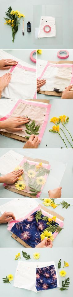 Kick off summer by updating your old denim shorts. 1. Use tape to outline the area you want to paint and apply Inkodye. 2. Arrange your flowers in a beautiful floral collage and cover with glass. 3. Carry your creation out into the sun and watch your Inkodye morph into its true color.