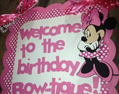 Mickey and MInnie Mouse Birthday Door sign by PurpleZebraPaperCo