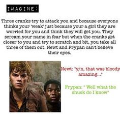 Out of the corner of my eyes, I see all of the Gladers staring at me with their mouths open. I take this opportunity to turn, smile & wink at them, my eyes catching Newt's. Maze Runner Funny, Maze Runner Thomas, Maze Runner Movie, Maze Runner Trilogy, Maze Runner Cast, Maze Runner Series, Ouat, Maze Runner Characters, James Dashner