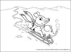 kleurplaat muis in de sneeuw voor kleuters