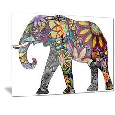 Designart 'Yellow Cheerful Elephant' Animal Digital Art