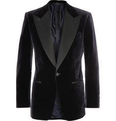 Tom Ford Navy Slim-Fit Velvet Tuxedo Jacket | MR PORTER