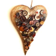 Hanging wood button heart home decor Valentines Day Coffee and Cream