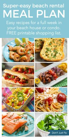 An entire weekly meal plan for cooking in your beach house or beach condo rental for your family vacation. Save money on the trip, eat better, and stay safe this summer! Don't miss the free printable grocery list with everything you need to order for grocery deliveries to your door. Beach Vacation Meals, Vacation Meal Planning, Family Meal Planning, Beach Meals, Family Meals, Vacation Savings, Vacation Food, Beach Trip, Vacation Ideas