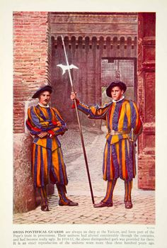 1938 Color Print Swiss Guard Vatican Rome Italy Military Unit Historical XGGD4