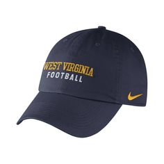 You can show off your Mountaineer football pride no matter where you go with our new adjustable Nike WVU football cotton twill cap.