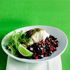 Striped Bass with Lime Butter and Green Lentil Salad - Healthy Recipes - Delish.com