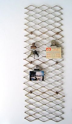 I can imagine doing something cool with photos + vintage industrial metal grating (not a memo board, but maybe clips+photos?)