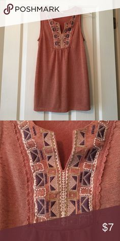 Knox Rose Beaded Embroidered V-neck Tank Top XS Worn once -- dusty rose color with cream and lavender embroidery. Size XS Knox Rose Tops Tank Tops