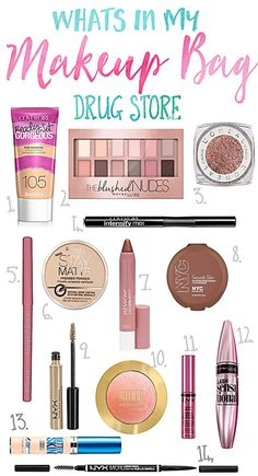 Makeup Organization -                                                              Whats in my Makeup Bag... Drugstore Products