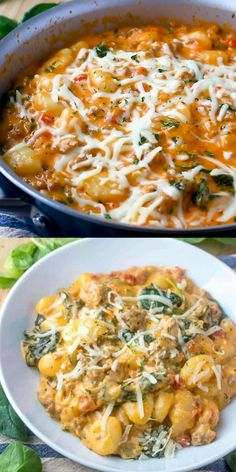 Want a quick hearty meal this One Pot Creamy Sausage Gnocchi is the perfect weeknight burst of flavor recipe that you're looking for! food pasta recipes One Pot Creamy Sausage Gnocchi Easy Casserole Recipes, Pasta Recipes, Cooking Recipes, One Pot Meals, Easy Meals, Pasta Facil, Vegetarian Recipes, Healthy Recipes, Damn Delicious Recipes