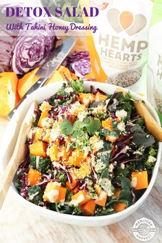 To help you get back on track with healthy eating in 2016, we whipped up this delicious Detox Salad with homemade Tahini Honey Dressing. It's packed with good-for-you ingredients and doesn't contain any refined sugar, dairy or processed foods.