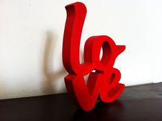 Love Wood Word Sign Photo Prop Red anniversary gift decoration wall decor wood script on Etsy, $39.00