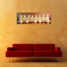 Quadro Candele con 13 Luci LED su Tela di Lino 30 x 90: Amazon.it: Casa e cucina