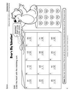 Math Worksheet: adding two-digit numbers without regrouping