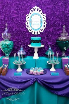Beautiful purple and teal dessert table.  From A Touch of Style Events