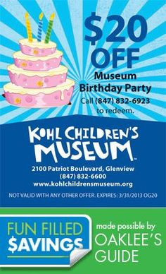 PARTY at the Museum! Save money too! Local Coupons, Saving Money, Children's Museum, Birthday, Party, Fun, Kids, Young Children, Birthdays