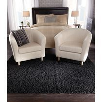 Home Trends Area Rug 4 Ft. 11 In. X 6 Ft. 9 In, Black Basic Shag