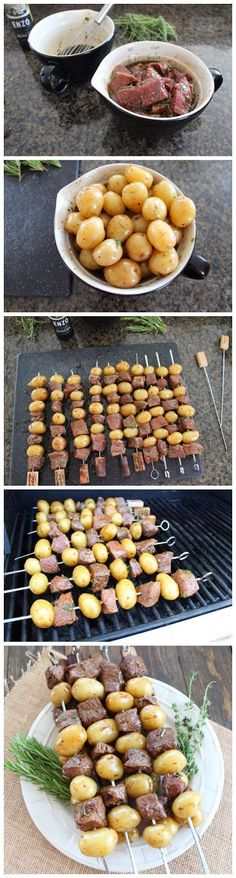 Rosemary Steak Skewers Would marinate strategy cubes in bag in freezer then pull out, thaw and add potatoes for cooking Grilling Recipes, Beef Recipes, Cooking Recipes, Healthy Recipes, I Love Food, Good Food, Yummy Food, Tasty, Food For Thought