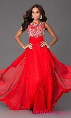 Long sleeveless Prom dress with sparkling jewels and delicate beadwork.