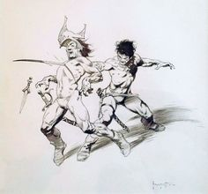 John Carter Chessmen of Mars 1975 Illustration by Frank Frazetta Comic Art