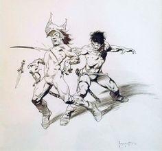 John Carter Chessmen of Mars 1975 Illustration by Frank Frazetta Comic Art