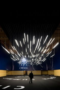 """Environmental design for the """"NATO Summit Lisbon"""" event, 2010 Linear Lighting, Stage Lighting, Neon Lighting, Interior Lighting, Lighting Design, Ceiling Lighting, Ouvrages D'art, Neon Licht, Deco Studio"""