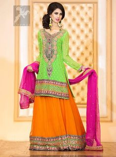 Bright Green Shirt Orange Lehenga & Pink Dupatta for Mehndi ...
