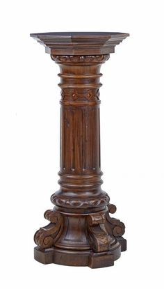 Carved Walnut and Pine Pedestal, c. Pillar Design, Coffee Table Inspiration, Floor Candle Stands, Iron Decor, Carving, Wood Carving Furniture, Decorative Panels, Hallway Decorating, Wooden Pillars