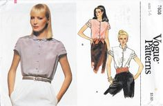 Vogue 7608 Women's 80s Blouse Sewing Pattern Size 14 Bust