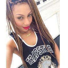 Trapstar London Clothing UK Tank Top Box Braids Honey Brown Extensions African American Black Beauty Pretty Girl Swag Urban Streetwear Fashion Dope Style Trend Rox_brown Flawless Makeup