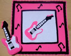Ravelry: Crochet Pattern Pink Guitar Afghan and Pillow pattern by Donna Harelik