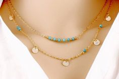 Multilayer Gold Coin Kallaite Bead double Chain Necklace.    Simplicity is beautiful  Starting at    80% OFF